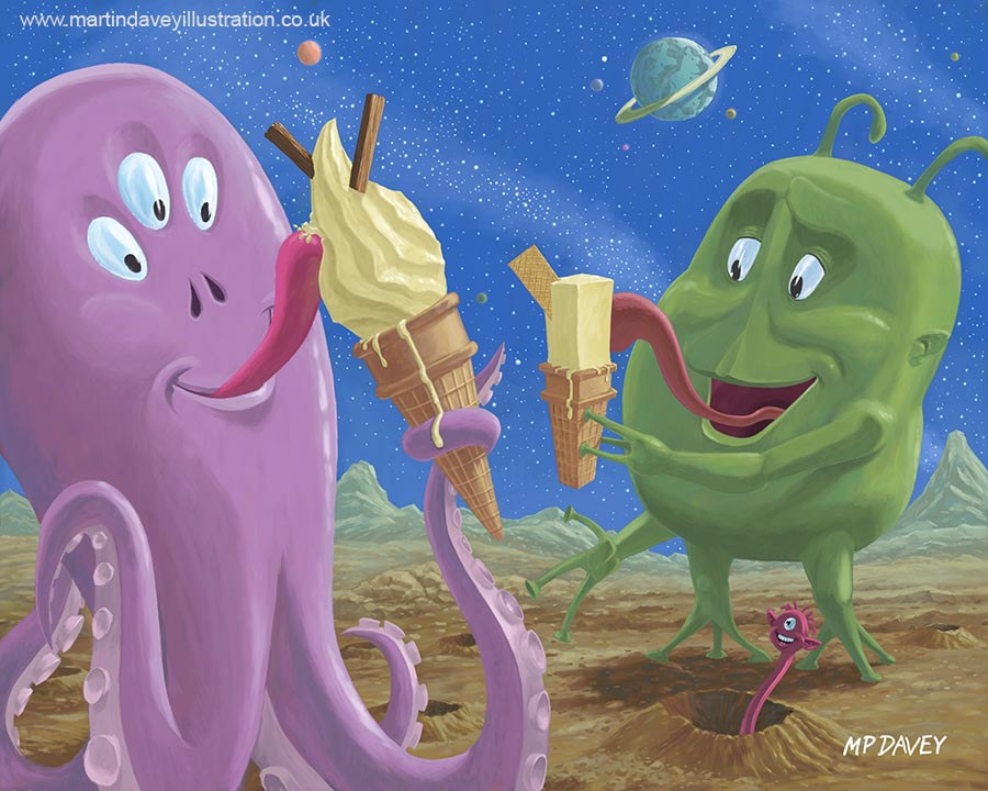 strange child aliens enjoying ice cream snack on alien world  digital painting