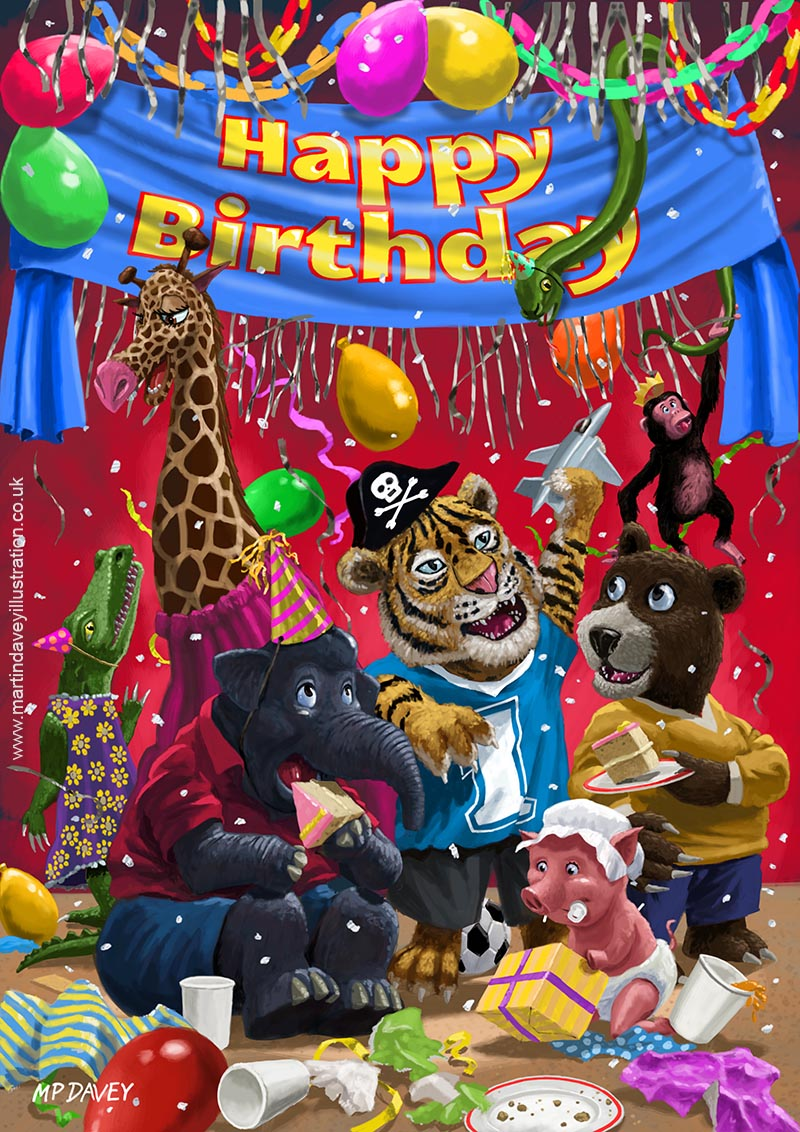 cartoon young animals at birthday party digital painting