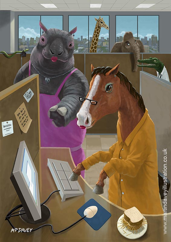 cartoon animal horse hippopotamus as office workers digital painting