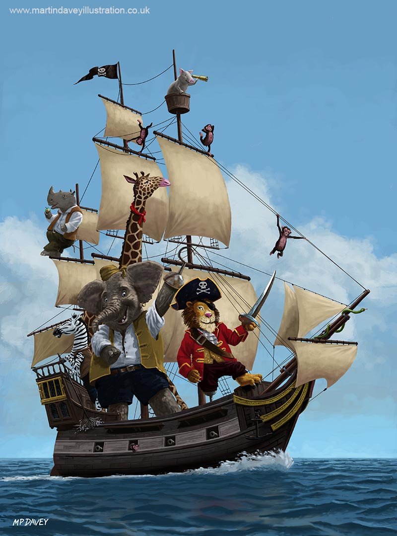 cartoon Animal Pirate Ship digital painting