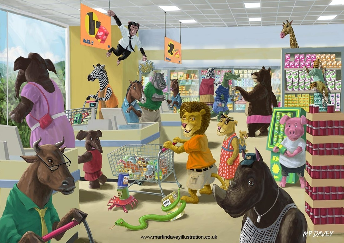 cartoon animals shopping in supermarket  digital painting