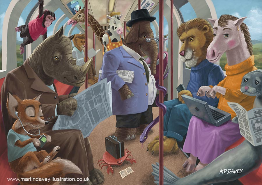 cartoon animal_underground_commute digital painting