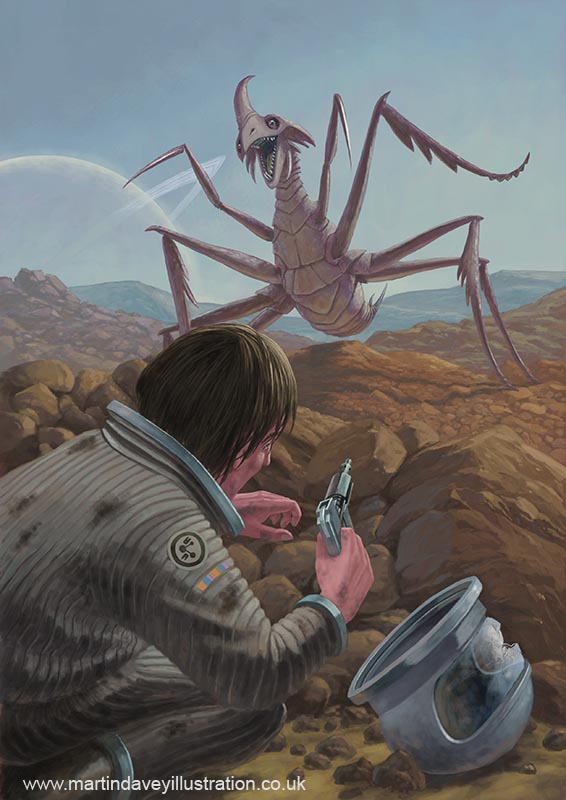 marooned astronaut confronting alien monster  digital painting