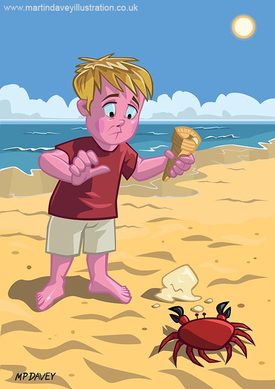 Cartoon Boy and Crab on Beach vector illustration digital painting
