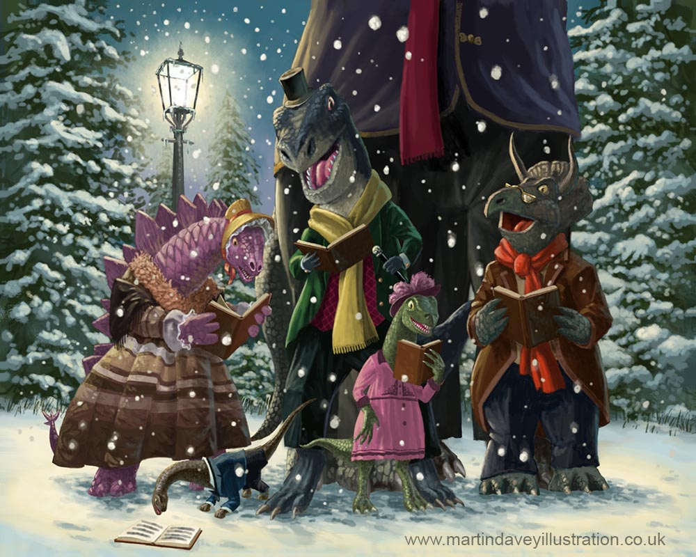 cartoon animal victorian  dinosaur carol singers out on christmas eve digital painting