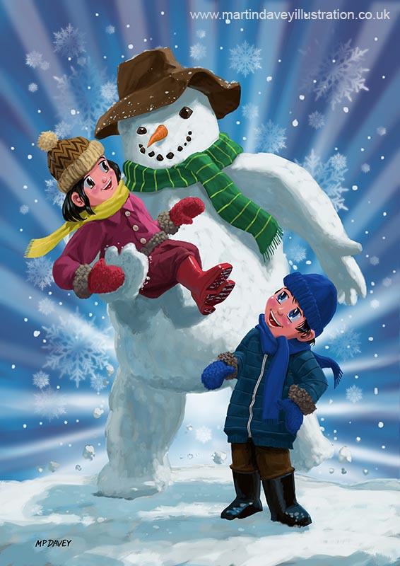 children_and_snowman_playing_together digital painting
