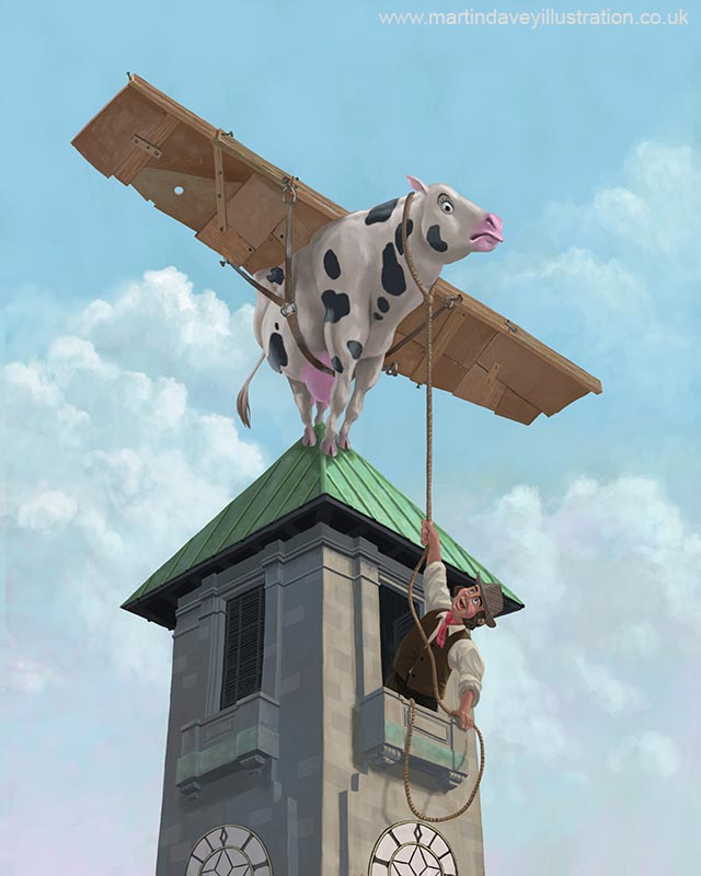 cartoon animal cartoon cow about to take  a maiden flight from southampton civic center clock tower digital painting