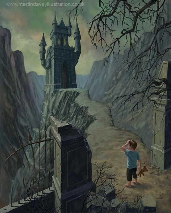 creepy haunted castle with child holding teddy at gate  digital painting