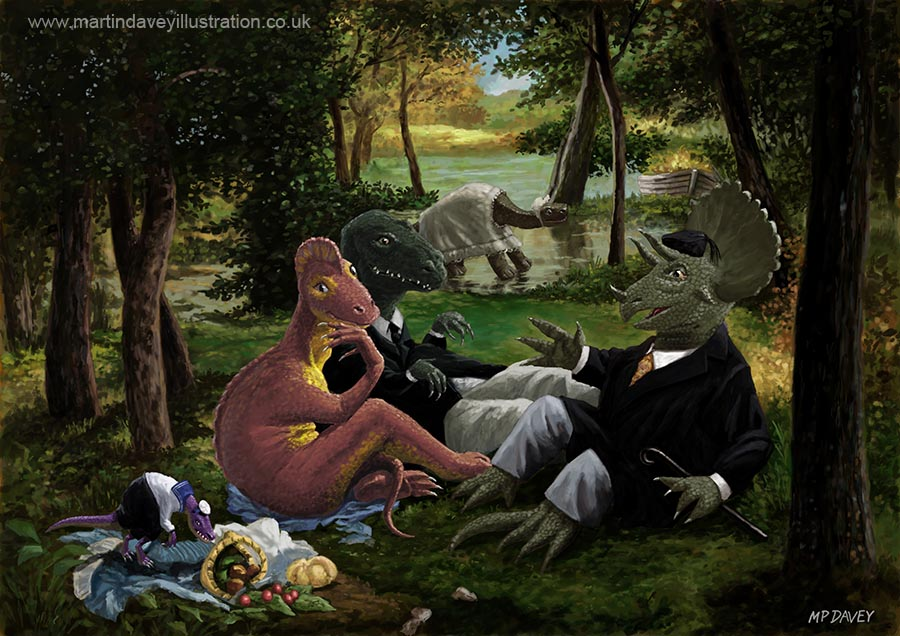 Cartoon dino_picnic Luncheon on the Grass Manet digital painting