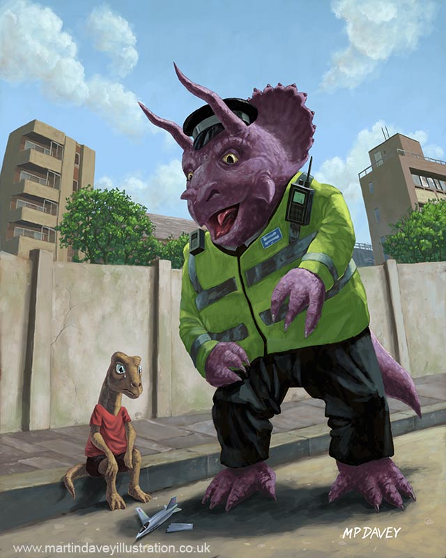 cartoon dinosaur community policeman in street with young boy digital painting