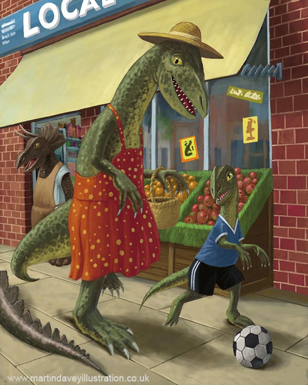 dinosaur mother out shopping with son on side walk digital painting