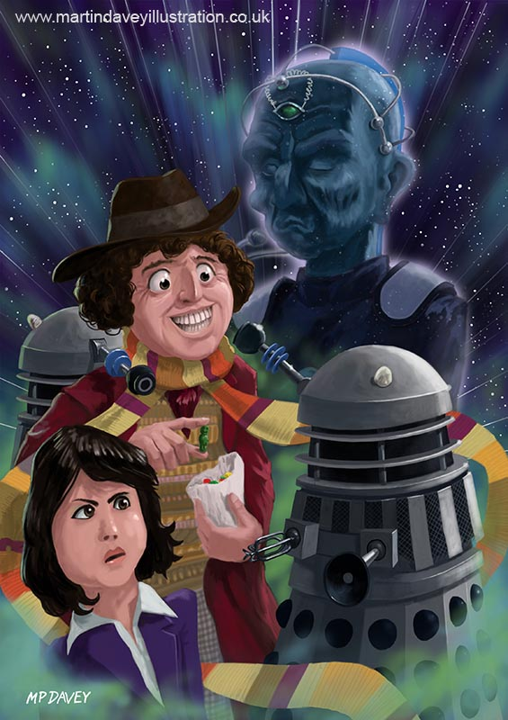 DR who Tom Baker Dalek funny davros jelly baby digital painting