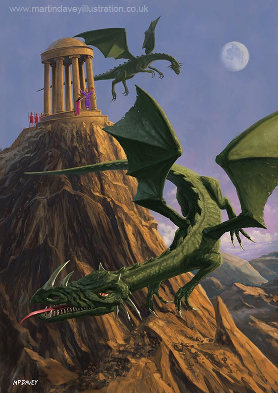 Dragons flying around a temple on mountain top digital painting