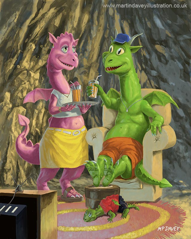 dragon family relaxing in front of the TV  digital painting