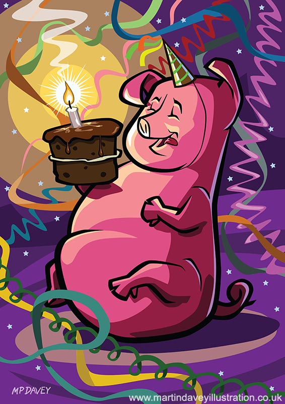 Cartoon Fat Little Birthday Pig vector  illustration