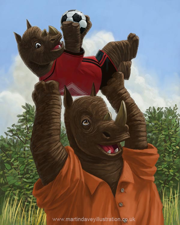 rhino father having fun with his son playing football  digital painting