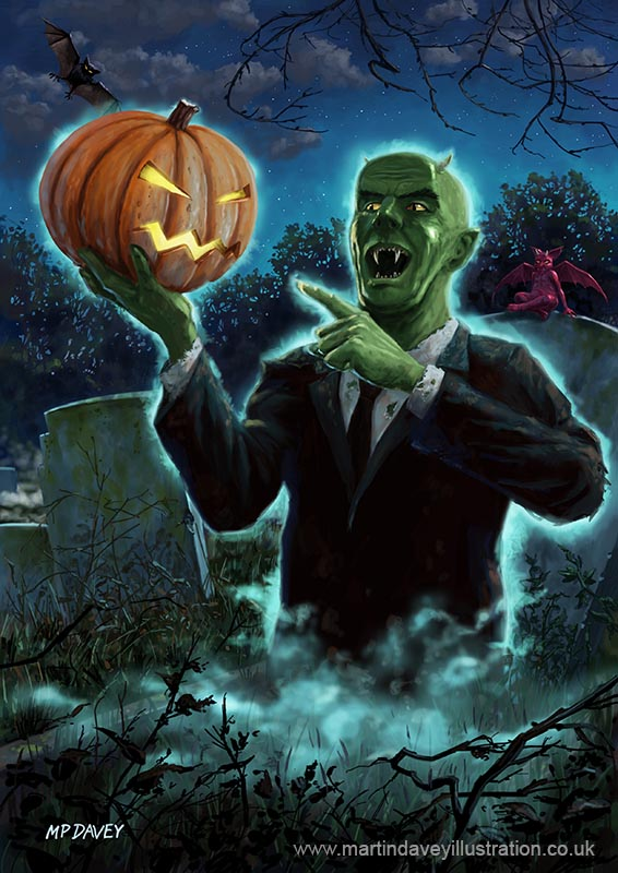halloween_ghoul_rising_from_grave_with_pumpkin digital painting