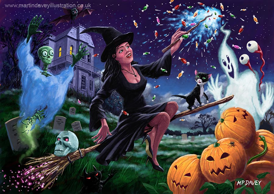happy_halloween_witch_with_graveyard_friends digital painting
