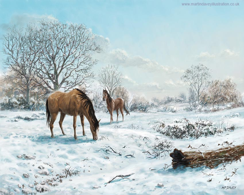 snow covered countryside with horses digital painting
