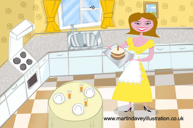 cartoon stylized 1950s kitchen digital painting