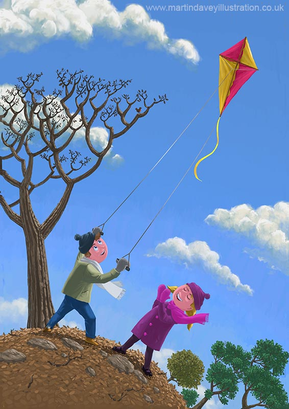 Children on hill flying kite digital painting