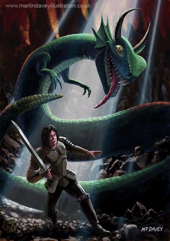 knight in armour and big serpent in fantasy battle in cave  digital painting
