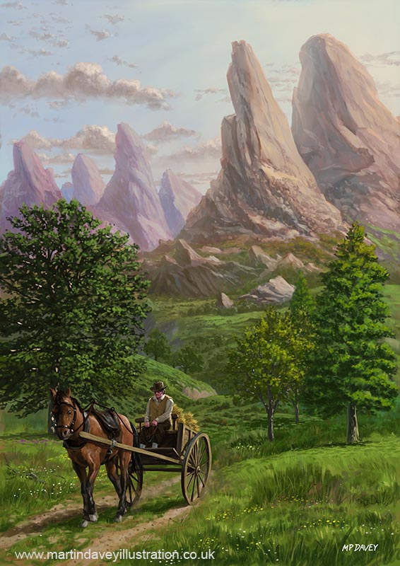 Landscape with man driving horse and  cart  digital painting