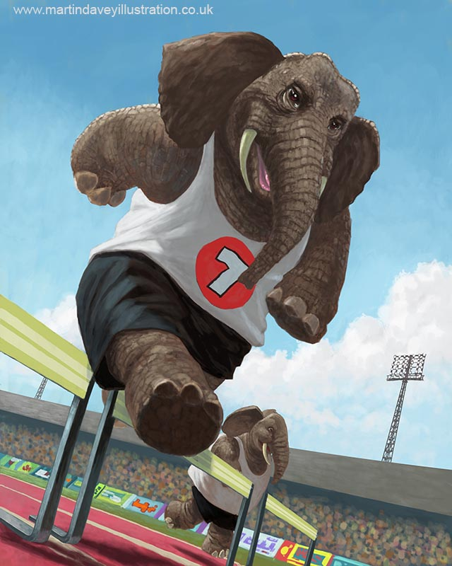 cartoon athletic leaping elephants sports track event digital painting