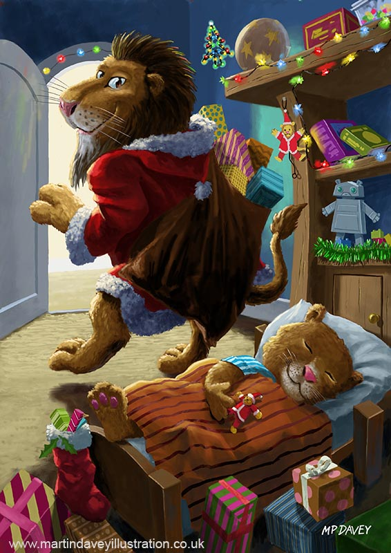 cartoon lion father christmas delivering presents digital painting