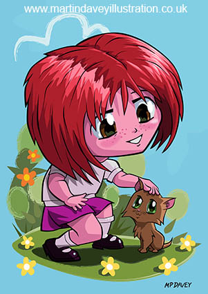 little_cartoon_manga_girl_stroking_pet_cat digital vector drawing
