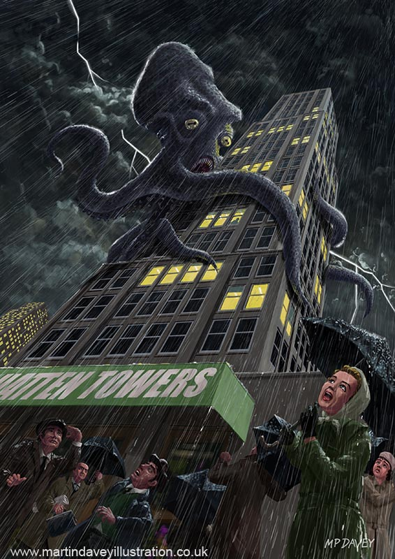 monster_octopus_attacking_building_in_stormy_city illustration  digital painting