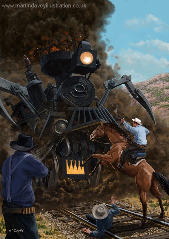 monster_train_attacking_cowboys illustration  fantasy painting