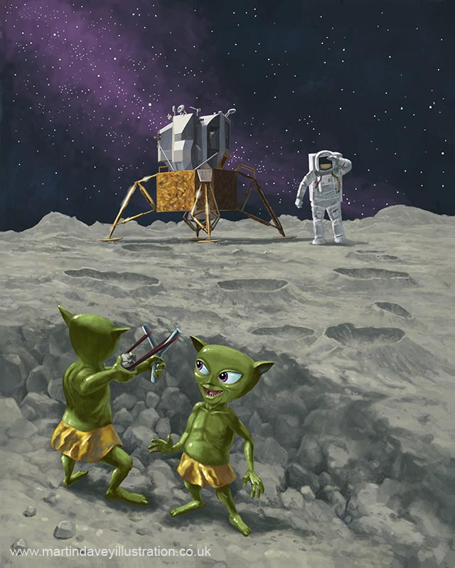 moon aliens children fire catapult at apollo astronauts digital painting