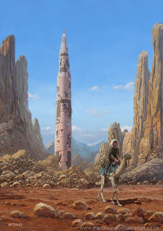 Old Saturn V rocket in desert cartoon illustration digital painting