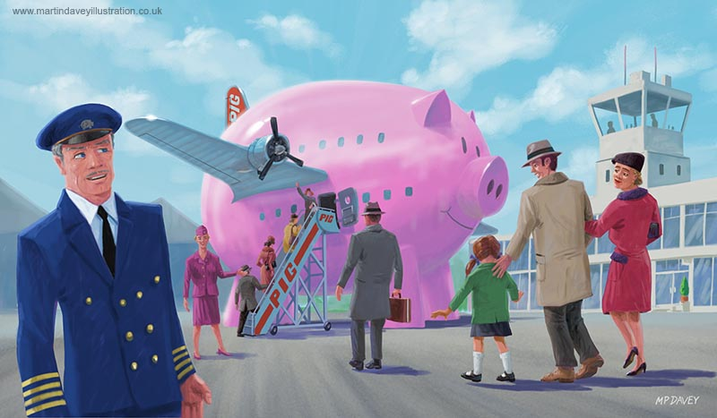 big funny pig aeroplane at airport illustration