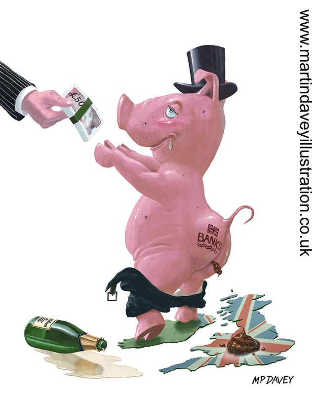 greedy bankers british bank fat pig bonuses RBS getting government handout digital painting