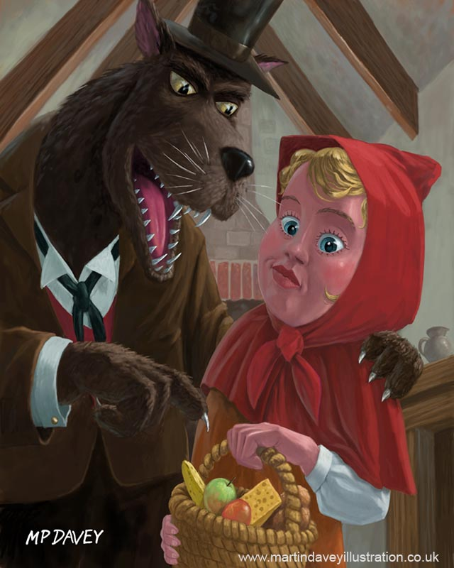 cartoon animal_red riding hood and bad wolf in grandmothers cottage digital painting
