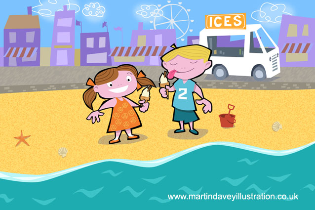 children on seaside beach eating ice cream digital painting