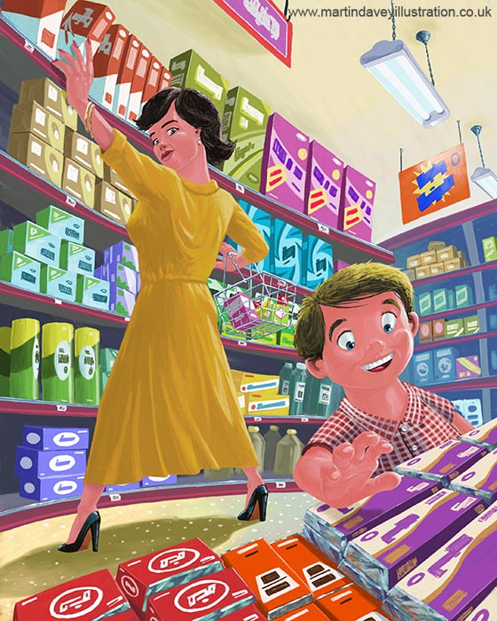 Boy grabbing candy in shop shopping with mother digital painting