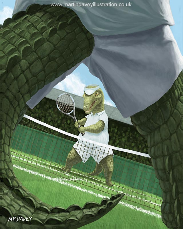 crocodiles playing tennis match at wimbledon digital painting