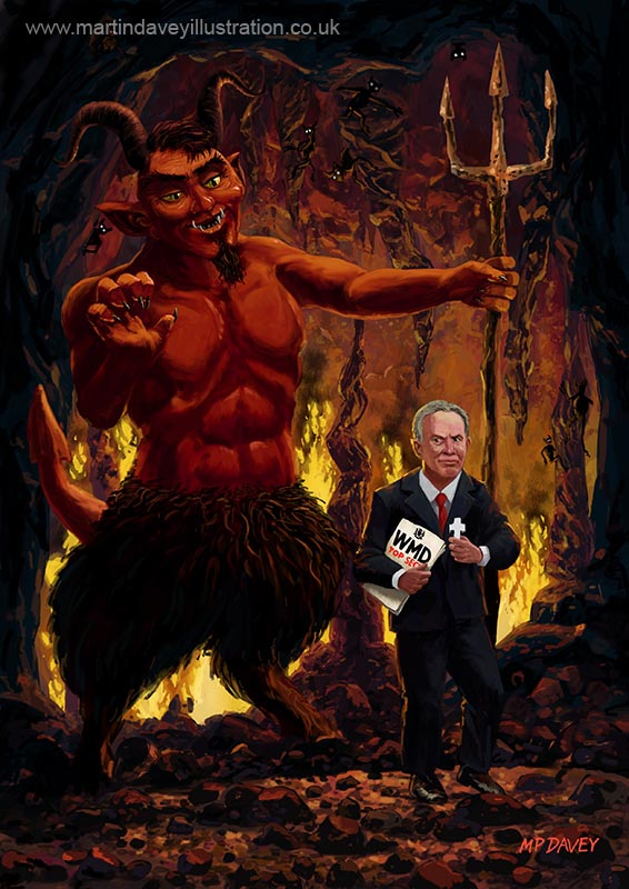 tony_blair_in_hell_devil_weapons_of_mass_destruction illustration  digital painting