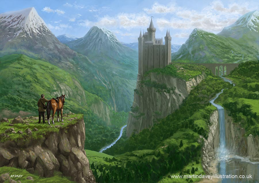 traveller_in_landscape_with_distant_castle illustration digital painting