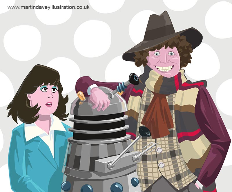 cartoon Dr who baker with dalek and sarah jane smith in tardis  digital painting