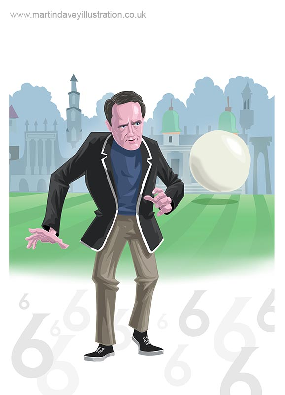 Patrick McGoohan as no 6 prisoner at portmeirion village digital painting