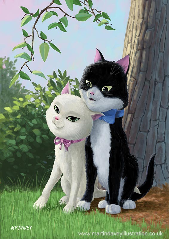 cartoon animal two romanic cats in love digital painting