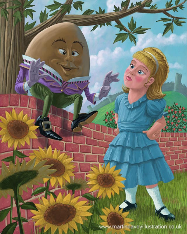 Humpty Dumpty on wall with alice in wonderland  digital painting