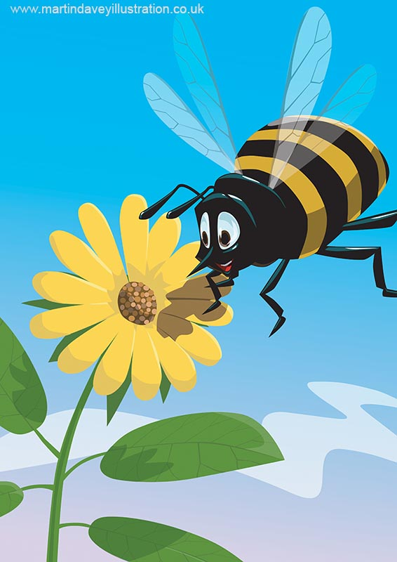 Happy cartoon bee with yellow flower digital painting