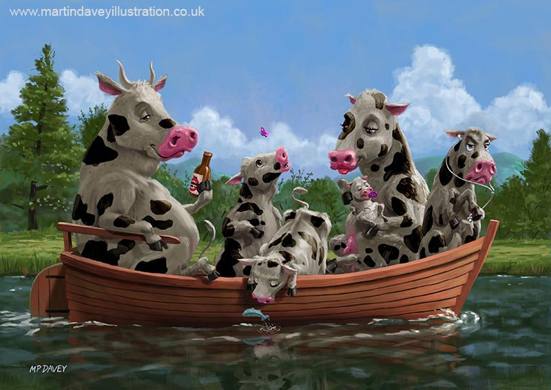 cartoon_cow_family_on_boating_holiday cartoon illustration