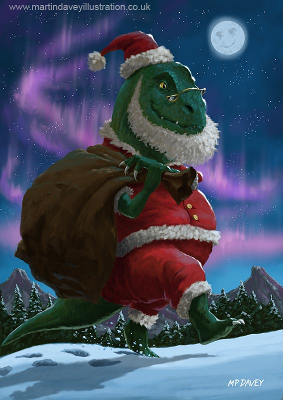 dinosaur_christmas_santa_out_in_the_snow digital painting