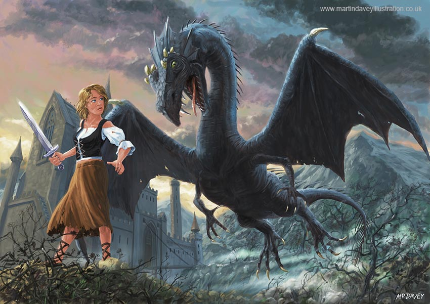 peasant girl with black dragon by castle art